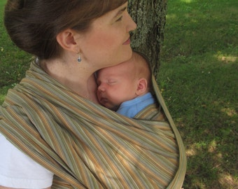 Handloomed Woven Wrap Carrier/Baby Sling - Earthy Olive Wide Width - DVD included - Size 5 and 6 available