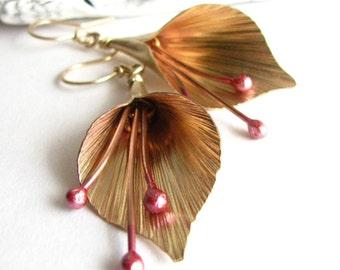 Golden Lily Earrings, Copper, Gold and Bronze Dangle Earrings, Mixed Metal Earrings, Statement Earrings, Metalwork Earrings, Flower Jewelry