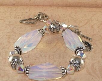 Opalite Bracelet, Bali, Sterling Silver, Chunky, Swarovski Crystal, 2x AB, Charm, Handmade Jewerly, DDurda