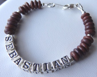 Boy Bracelet, Sterling Silver Brown Magnesite Name Bracelet, Personalized Bracelet, Monogrammed Bracelet, Man Men, Boys