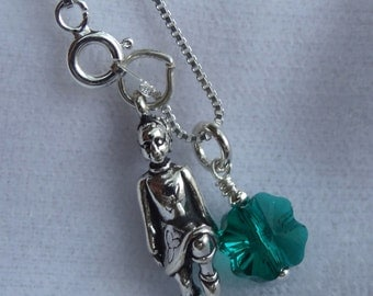 Sterling Silver Irish Dancer and Clover Charm  Necklace, Irish Necklace