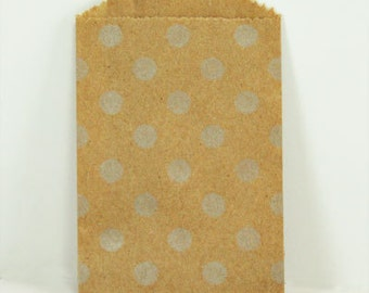 20 Silver Polka Dot Kraft Bags - Pack of 20 Little Bitty bags