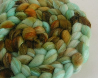 Fiber Roving Top Merino Silk 50 50 Velvet RAW TURQUOISE Top Hand Painted Blue Brown Green Wool Spin Felt Craft Roving 2 ounces