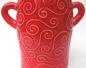 Red Textured Swirl Handmade Ceramic Pottery Sugar Jar Flower Vase
