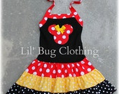 Minnie Mouse Red & Yellow Dress, Minnie Mouse Outfit, Minnie Mouse Birthday Party Dress, Minnie Mouse Girl Clothes