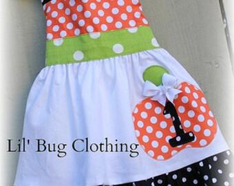 Custom Boutique Clothing Halloween  Pumpkin Jumper Dress