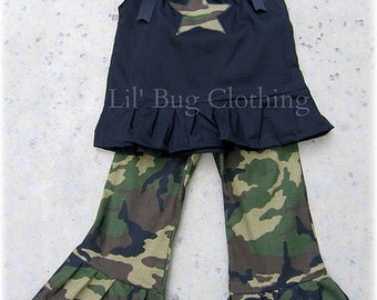 Custom Boutique Camouflage outfit army size 12 18 24 2t 3t 4t 5t 6 7 girl