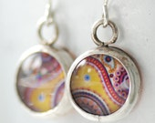 Paisley Earrings, Mod Earrings, Retro Earrings, Paper Earrings, Bezel Earrings, Paisley Jewelry, Yellow and Pink, 1970's Inspired