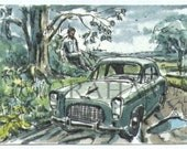 The Traveller, Classic car, Aceo Art Card, Original, Watercolor Painting, ACEO, This is an Original painting and Not a Print