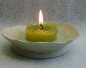 Wheel Thrown Marbled Clay Ceramic Votive Candle Holder Ring Holder Soap Dish or Trivet Tray