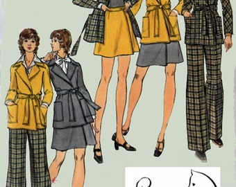 1970s  Wrap Jacket and Wrap Skirt and Pants Butterick 6947 Vintage 70s Retro Sewing Pattern Size 14 UNCUT