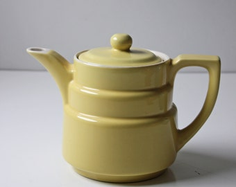 vintage deco style yellow ceramic tea pot