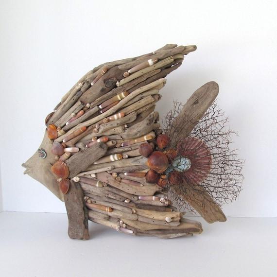 Driftwood art sculpture fish angelfish shells beach coastal for Decozilla wall art