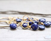 Genuine Lapis Lazuli and Gold Drop Earrings. Fringe. Pyrite. Royal Blue. Dangle. Long
