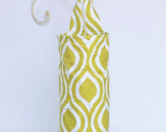 Holder for Plastic Bags Emily in Arist Green Cloth Fabric Plastic Grocery Bag Holder