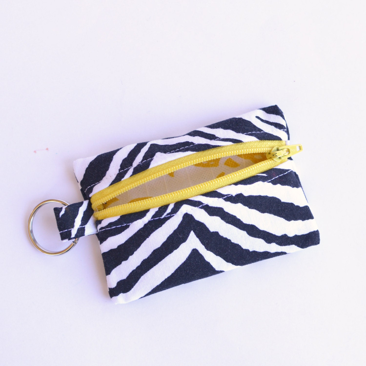 business card holder small zipper pouch flash drive holder zebra