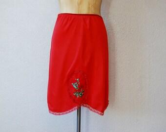 vintage 1960s RED florals half slip skirt
