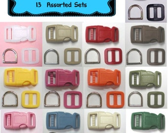 "SALE - 13 SETS - 1/2"" - Super VARIETY Pack - Dog Collar Kits, 1/2 inch, 39 Pieces, 12.7mm"