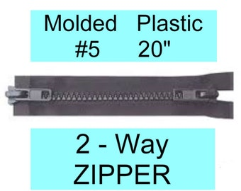 "5 ZIPPERS - 20"" - YKK Molded Plastic Zipper - 20 inch - 2 Way ZIPPER - Black"