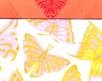 Pink and Orange Butterflies Thank You Card