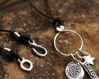 Artisan Leather Sterling Silver Charm Necklace N301