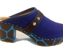 Purple and turquoise  giraffe heel clog