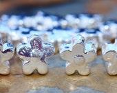 2 Mykonos Silver Daisy Flower Beads - Greek Casting Beads