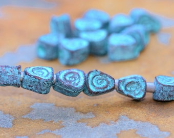 10 Greek Green Patina Tiny Teardrop Spiral Beads