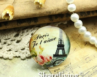 Glass Cabochon, 8mm 10mm 12mm 14mm 16mm 20mm 25mm 30mm Round Handmade photo glass Cabochons   (Eiffel Tower) -- BCH725C