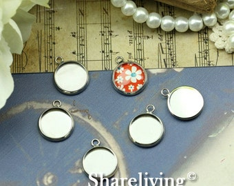 10PCS Silver 12mm Round Cameo Base Setting Pendant / Charm BS295A