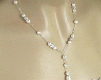 Bridal Necklace, Wedding Jewelry, Crystal Rhinestone Fireball, Crystal & Pearl Bridal Necklace, Pearl Y Necklace, Pearl Drop Necklace