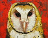 Owl painting 86 12x12 inch original barn owl oil painting by Roz
