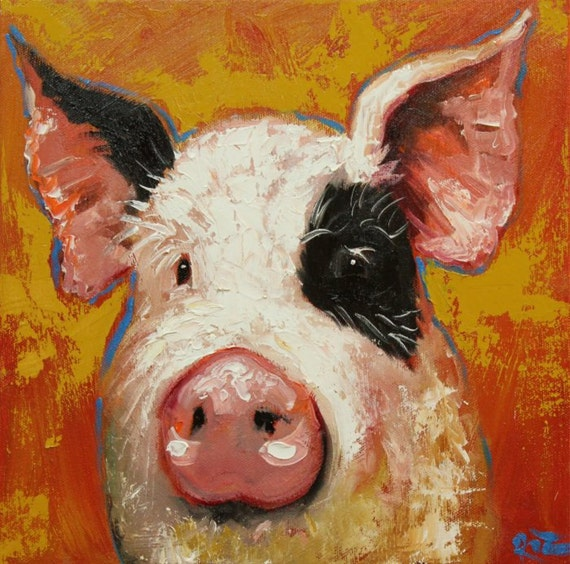 pig painting 89 12x12 inch original oil painting by roz