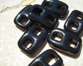 BLACK CERAMIC CLASPS Qty 1 All-One-Piece Instant Ribbon Buckle Toggle Clay Clasp Ebony,