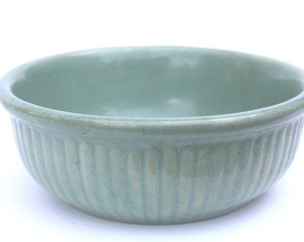 Vintage 1940s Green Weller Pottery Ribbed Bowl