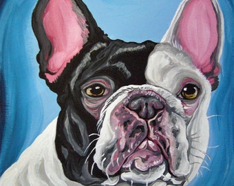 Pied French Bulldog Original Canvas Painting Dog Art-Carla Smale