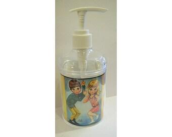 big eye soap dispenser retro vintage sad eye print bathroom decor 1960's kitsch