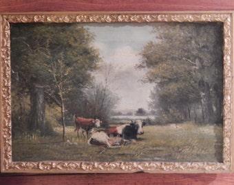 G Willis . Antique Landscape Oil Painting .1903 . Cows in Pasture