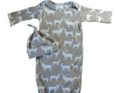 Organic Grey Elk Gown with matching hat size 0-3 made to order