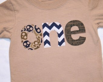 Boys ONE Shirt for First Birthday - 12 month long sleeve tan shirt with skulls in navy blue and army green