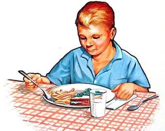 4 Large Vintage Flashcards - Breakfast, Grooming, Getting Dressed, Biking - 1965 Elementary School Educational Flashcards