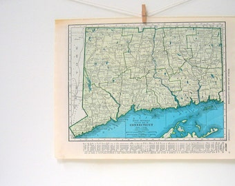 1946 Map of Connecticut, Map of Florida - World Atlas Book Page - Vintage Map - 11 x 14