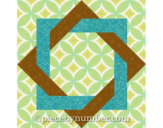 Interlocked Squares quilt block, paper pieced quilt patterns, instant download, PDF quilt ...