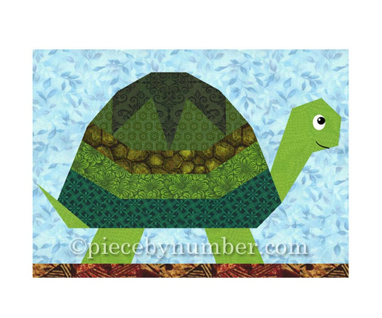 Turtle Quilt Block Pattern Paper Piecing By