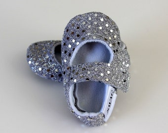 Silver sequin pink SWAG maryjane baby girl soft sole shoes toddler newborn velcro strap booties slippers non slip  shower gift