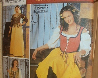 Sewing Pattern Simplicity 5582 Renaissance Misses' Costume Size 4-10 Bust 30-33 Inches  Uncut Complete