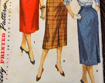 Vintage 1950's Sewing Pattern Simplicity 1345 One Yard Wriggle Skirt Waist 28  Complete