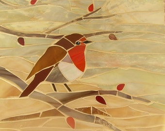 Mosaic Robin Card - Glass Robin - Mosaic Art - Robin Mosaic - Greetings Card - Mosaic Bird  Christmas Robin  Red Robin Card Robin Red Breast