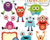 Monster clipart - Spring monster clip art - digital images, instant download