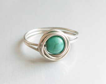 Blue Turquoise Bead Wire Wrapped Rings - Bridesmaid gift - Gift for Her